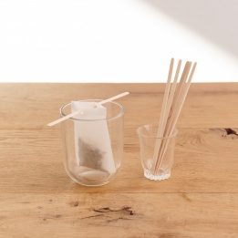 Batonnets en bois - support pour mousseline perçée pour thés et infusions